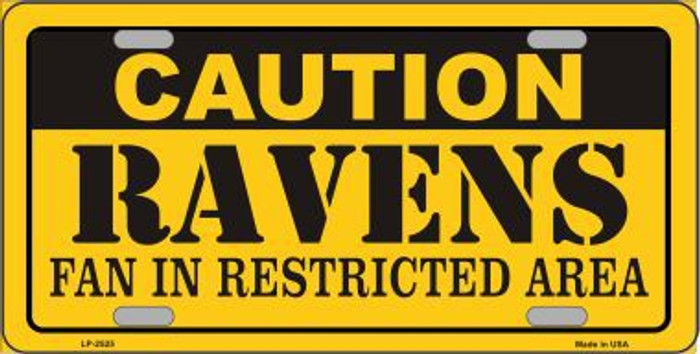 Caution Ravens Metal Novelty License Plate