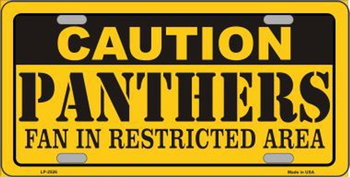 Caution Panthers Metal Novelty License Plate