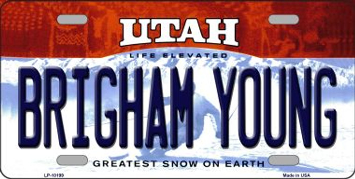 Brigham Young Utah Background Novelty Metal License Plate