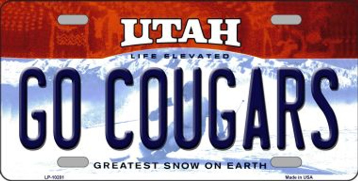 Go Cougars Utah Background Novelty Metal License Plate