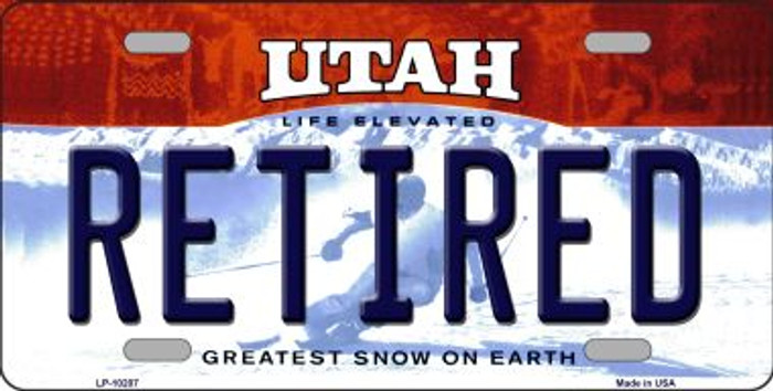 Retired Utah Background Novelty Metal License Plate