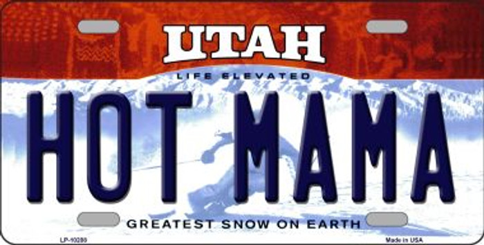 Hot Mama Utah Background Novelty Metal License Plate