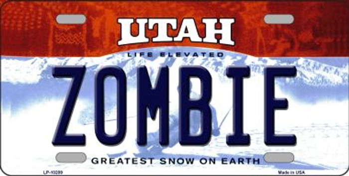 Zombie Utah Background Novelty Metal License Plate