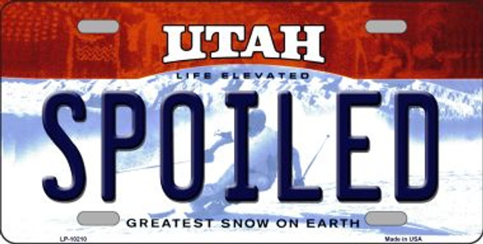 Spoiled Utah Background Novelty Metal License Plate