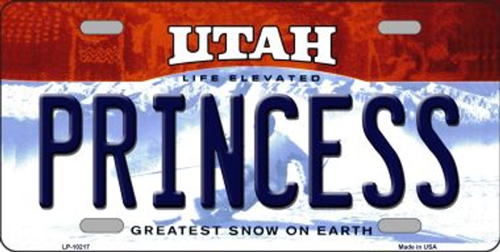 Princess Utah Background Novelty Metal License Plate