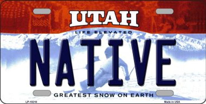Native Utah Background Novelty Metal License Plate