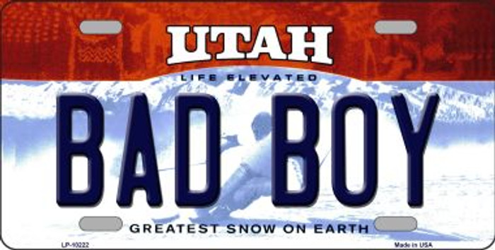 Bad Boy Utah Background Novelty Metal License Plate