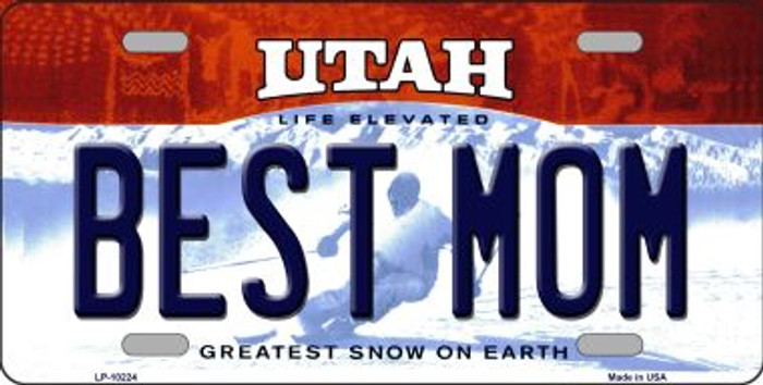 Best Mom Utah Background Novelty Metal License Plate
