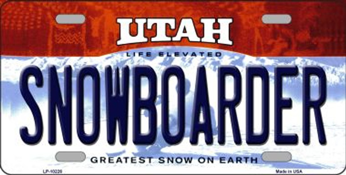 Snowborader Utah Background Novelty Metal License Plate