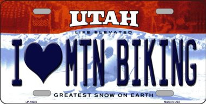 I Love Mtn Biking Utah Background Novelty Metal License Plate