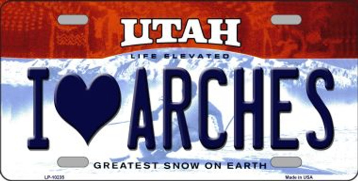 I Love Arches Utah Background Novelty Metal License Plate