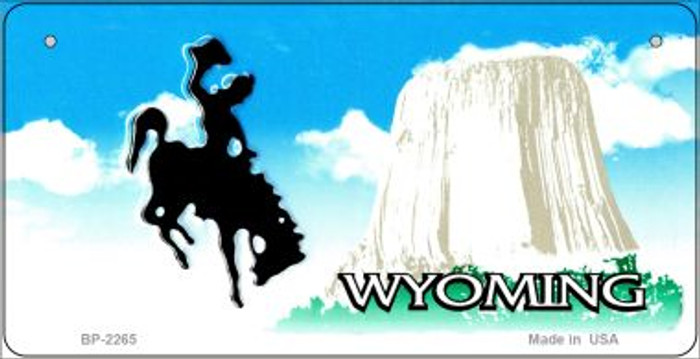 Wyoming Novelty State Background Bicycle License Plate