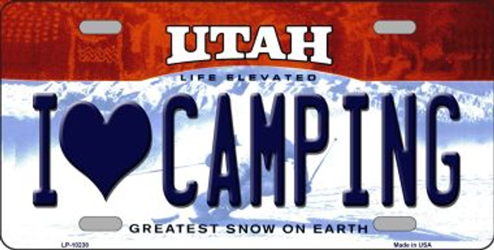 I Love Camping Utah Background Novelty Metal License Plate
