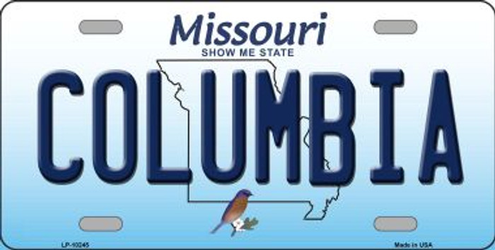 Columbia Missouri Background Novelty Metal License Plate