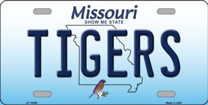 Tigers Missouri Background Novelty Metal License Plate