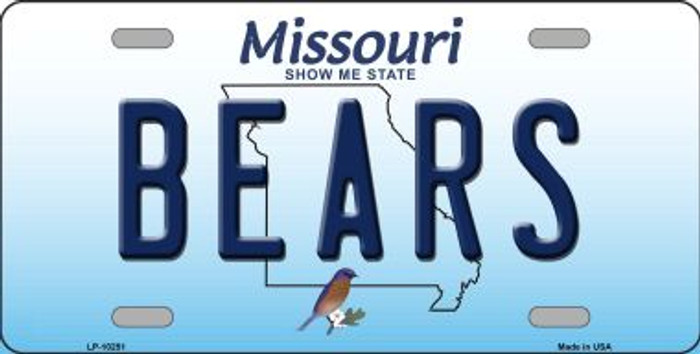 Bears Missouri Background Novelty Metal License Plate