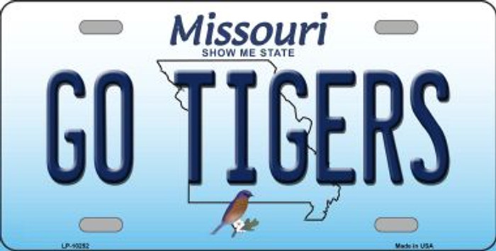 Go Tigers Missouri Background Novelty Metal License Plate