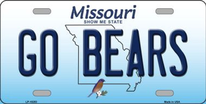 Go Bears Missouri Background Novelty Metal License Plate