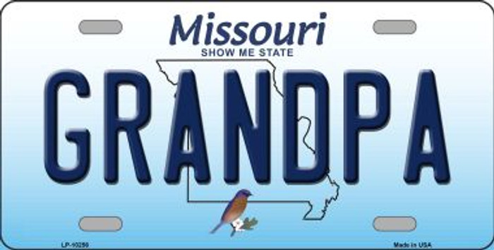 Grandpa Missouri Background Novelty Metal License Plate