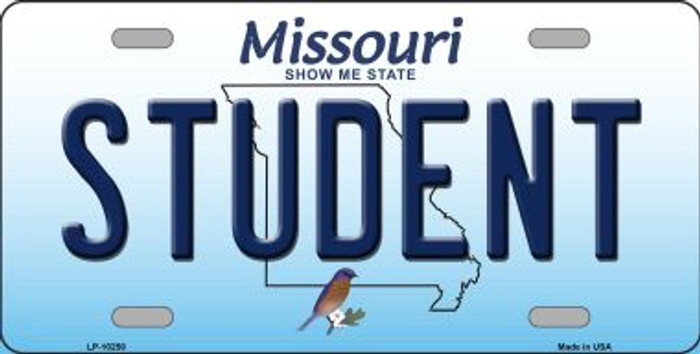 Student Missouri Background Novelty Metal License Plate