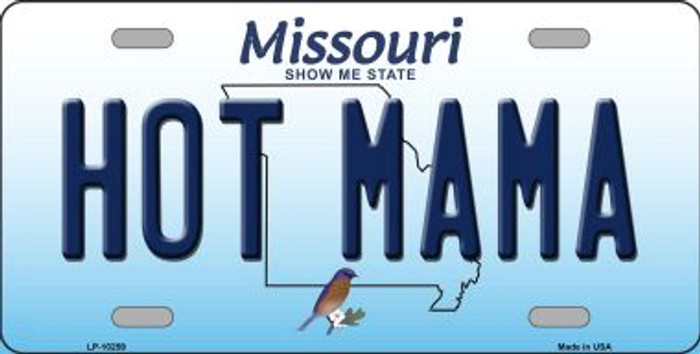 Hot Mama Missouri Background Novelty Metal License Plate