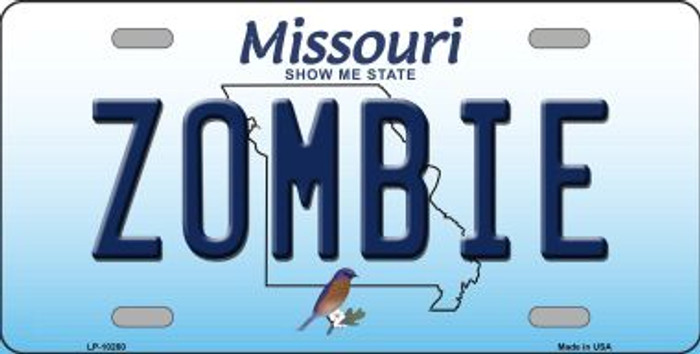 Zombie Missouri Background Novelty Metal License Plate