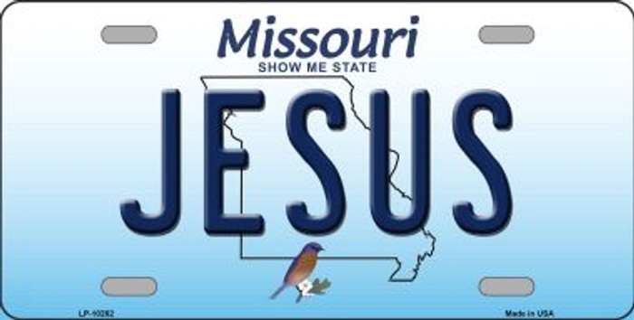 Jesus Missouri Background Novelty Metal License Plate