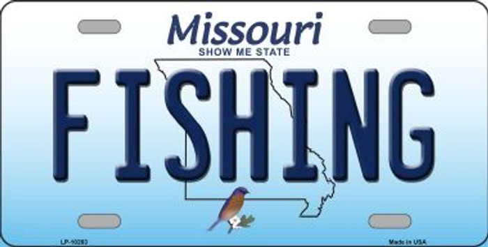 Fishing Missouri Background Novelty Metal License Plate