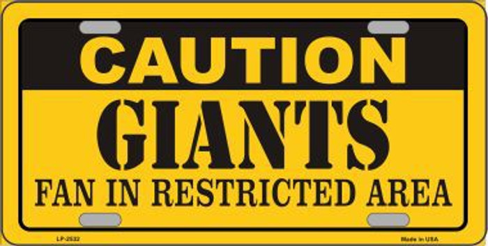 Caution Giants Metal Novelty License Plate