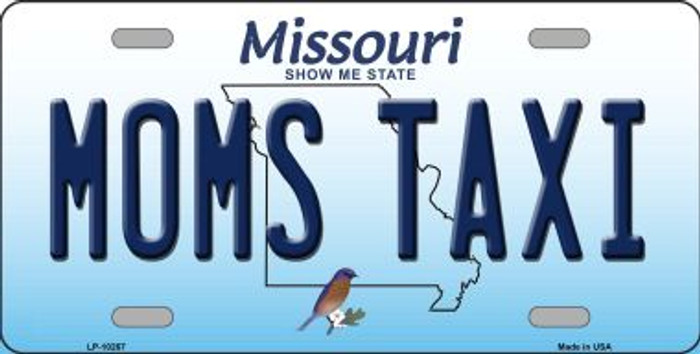Moms Taxi Missouri Background Novelty Metal License Plate