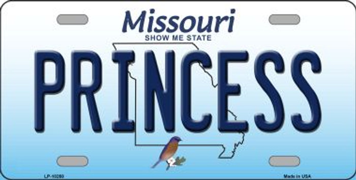 Princess Missouri Background Novelty Metal License Plate
