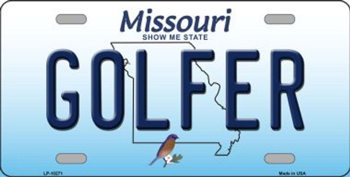 Golfer Missouri Background Novelty Metal License Plate