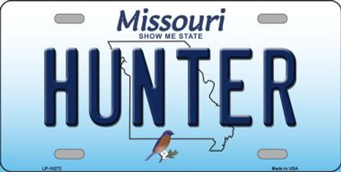Hunter Missouri Background Novelty Metal License Plate