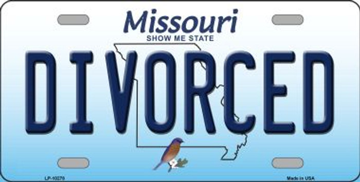 Divorced Missouri Background Novelty Metal License Plate