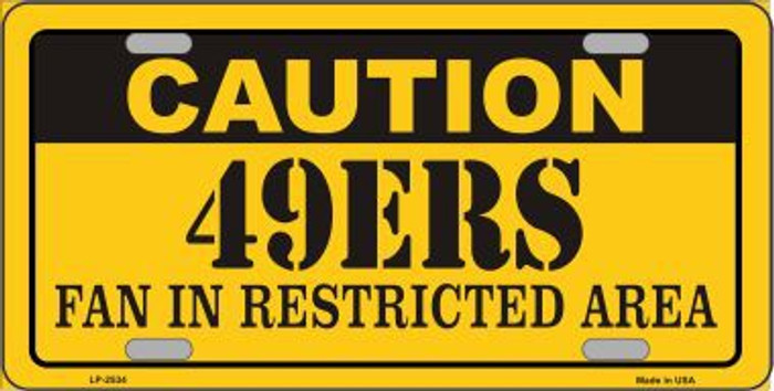 Caution 49ers Metal Novelty License Plate