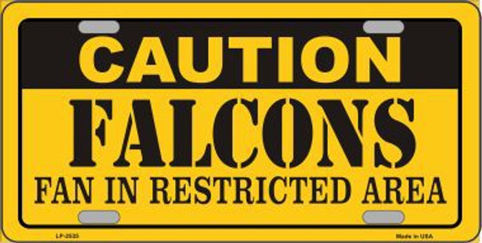 Caution Falcons Metal Novelty License Plate