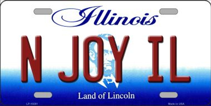 N Joy IL Illinois Background Metal Novelty License Plate