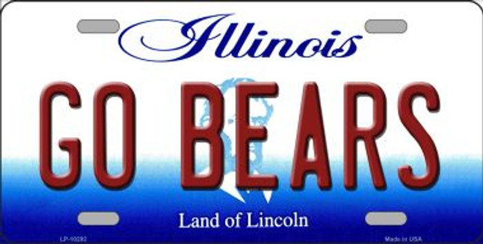 Go Bears Illinois Background Metal Novelty License Plate