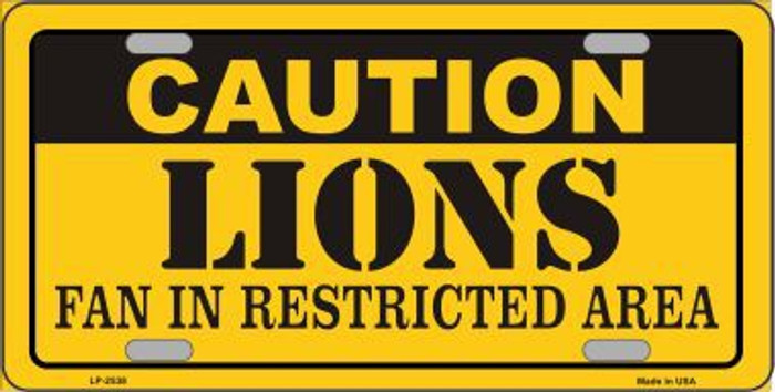 Caution Lions Metal Novelty License Plate