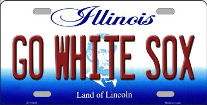 Go White Sox Illinois Background Metal Novelty License Plate