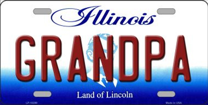 Grandpa Illinois Background Metal Novelty License Plate