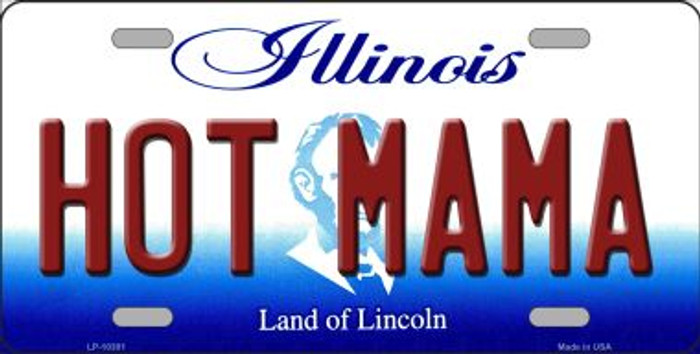 Hot Mama Illinois Background Metal Novelty License Plate