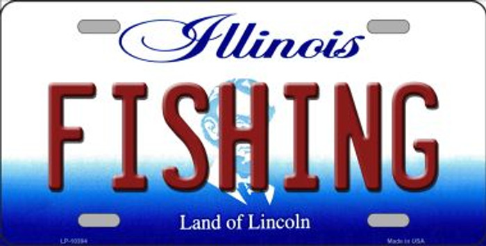 Fishing Illinois Background Metal Novelty License Plate