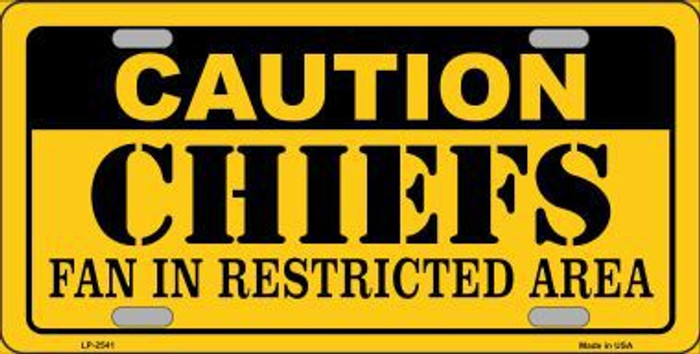 Caution Chiefs Metal Novelty License Plate