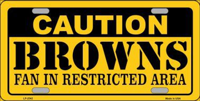 Caution Browns Metal Novelty License Plate