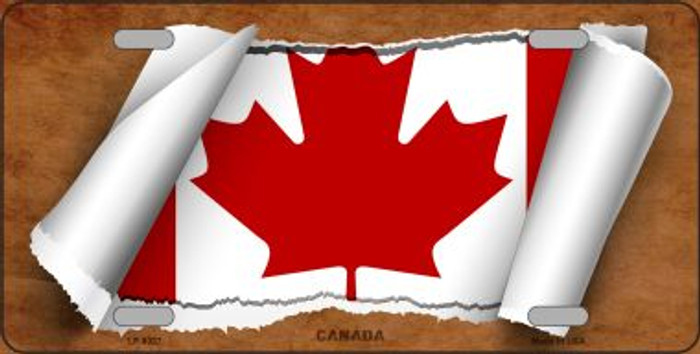 Canada Flag Scroll Novelty Metal License Plate