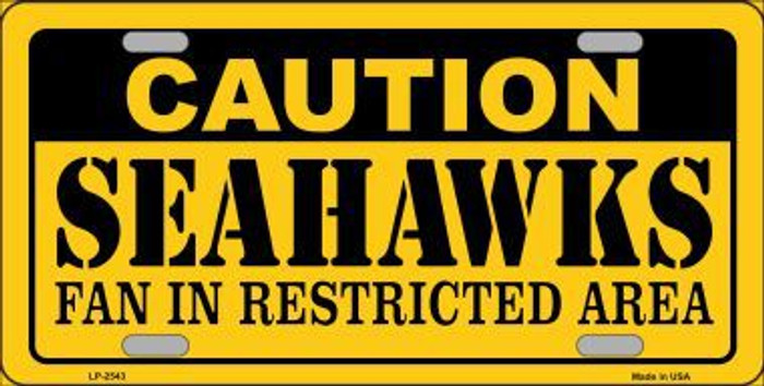 Caution Seahawks Metal Novelty License Plate