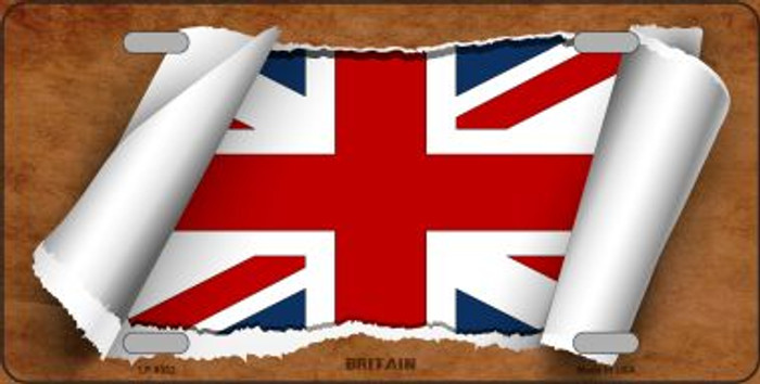 Britain Flag Scroll Novelty Metal License Plate