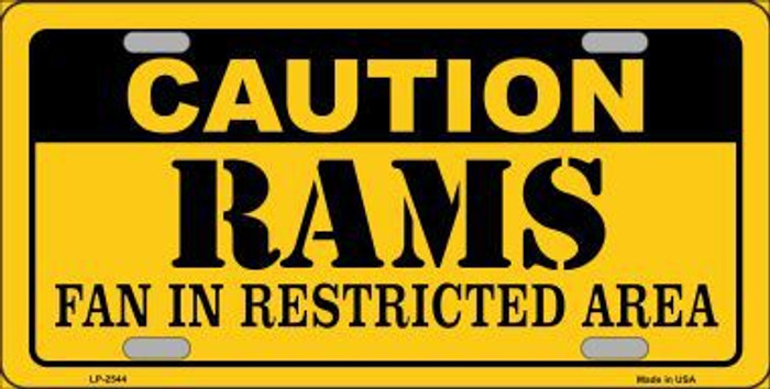 Caution Rams Metal Novelty License Plate