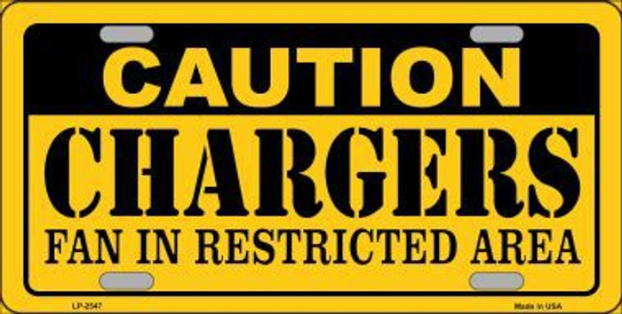 Caution Chargers Metal Novelty License Plate